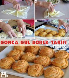 How to make Gonca Rose Pastry - Anna Home Pastry Design, Good Food, Yummy Food, Wie Macht Man, Snacks Für Party, Bread And Pastries, Arabic Food, Turkish Recipes, Junk Food
