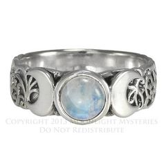 Triple Moon Goddess Moonstone Ring Sterling Silver SS sz 4-15 Lunar Moon phases