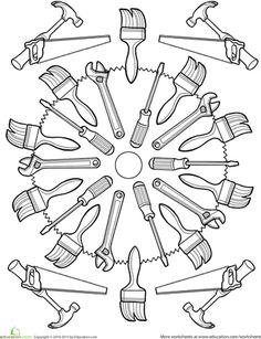 carpenter tools coloring pages - photo#26