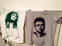 James Dean e Bob Marley stencil su t shirt