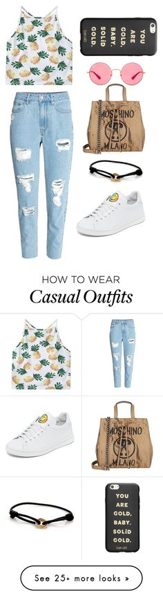 """Casual summer"" by galiiig on Polyvore featuring Moschino, H&M, Joshua's, ban.do, Ray-Ban, Cartier, StreetStyle and Summer"