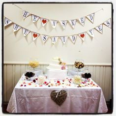 Candy table engagement party decorations