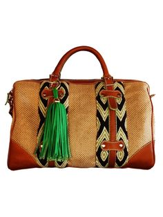 Artisan crafted handbag, woven basket and exotic print Wayuu fabric, green tassel detail