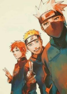 Gaara, Naruto and Kakashi, ma men❤️ I love all three of these handsome Devils 😏😍 Anime Naruto, Naruto Shippuden, Naruto Kakashi, Naruto And Sasuke, Gara Naruto, Manga Anime, Naruto Gaiden, Fanarts Anime, Shikamaru