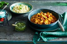 Indian Chicken Curry with Cauliflower Rice and Pesto