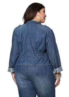 Embellished Denim Jean Jacket - Ashley Stewart