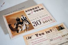 """Picture perfect  Audrey and Tron are marrying in June in Glasgow, but currently live in the Middle East, so their wedding invitation is in the style of an old Kuwait postcard with a photo of the two of them riding camels.     """"The invitation design started as a joke with us laughing about various potential awful invite ideas…us on camels was one of them!"""" explains Audrey. """"We wanted our invites to be informal and fun and then I came across Marty's website and blog while searching online."""""""