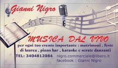 Gianni Nigro si occuperà della musica durante il nostro matrimonio.  Tel: 3404812084  Email: nigro.commerciale@libero.it  Profilo facebook: http://www.facebook.com/profile.php?id=1653556777