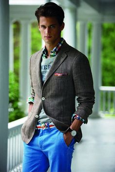 Blazer over pullover over shirt. bright pants