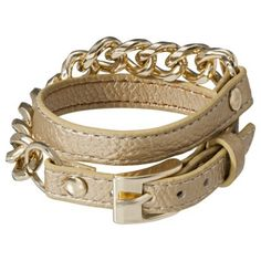 Faux Leather Bracelet with Chain Link - Gold #targetawesomeshop
