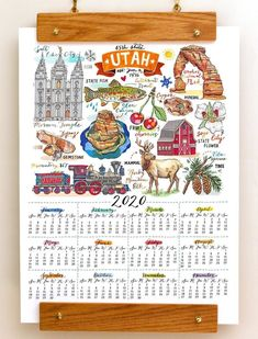 An illustrated wall calendar to highlight all the many wonderful things your home state is known for. 22 State-Themed Items To Remind You Of Home Personalized Housewarming Gifts, Beer Caps, Address Stamp, Gifts For My Boyfriend, Blue Gemstones, Leather Keychain, Cute Gifts, Vintage World Maps, Things To Think About