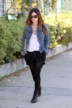 Rachel Bilson Lace Up Boots  Rachel looked casual chic in a denim jacket, drawstring shorts, sheer tights and vintage-looking black leather lace-up boots.