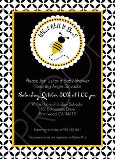 Custom Baby Shower Invitation What Will It Bee by lillebarntoo, Ideas Baby Boy Invitations, Custom Baby Shower Invitations, Baby Shower Games, Baby Boy Shower, Baby Showers, Bee Party, Bee Theme, Baby Shower Gender Reveal, Reveal Parties