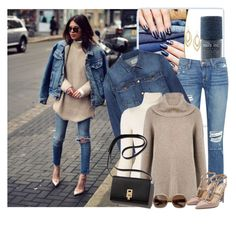 """Denim And Camel Sweater"" by honkytonkdancer ❤ liked on Polyvore featuring Alima, Paige Denim, Current/Elliott, Emanuel Ungaro, Valentino, Burberry, Alexis Bittar, women's clothing, women and female"