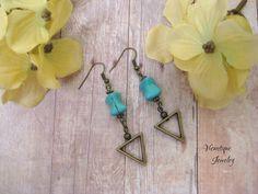 Turquoise Howlite and Bronze Earrings Dangle Earrings Drop