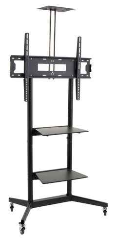 This flat panel TV cart features two media shelves and a camera shelf! This TV floor stand is a mobile unit! Shop for a flat panel TV cart today! Cheap Tv Stand, Diy Tv Stand, Rolling Tv Stand, 80 Inch Tvs, Tv Stand On Wheels, Small Projector, Tv Floor Stand, Plasma Tv Stands, Tv Cart