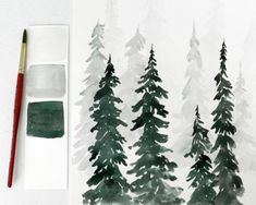 Watercolor Pine Trees Tutorial: How to Pain a Wintery Forestscape | The Art 123 #watercolorarts