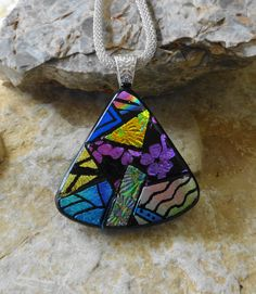 Fan Shaped Dichroic Fused Glass Necklace Dichroic by GlassCat