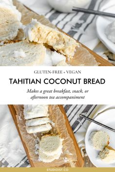 Gluten-Free, Vegan Tahitian Coconut Bread Tahitian Coconut Bread makes a great breakfast, snack, or afternoon tea accompaniment. It's decently dense, moist and rich with coconut. Gluten Free Baking, Vegan Gluten Free, Coconut Bread Recipe, Coconut Recipes Vegan, Vegan Coconut Cake, Coconut Tea, Vegetarian Recipes, Breakfast Recipes, Dessert Recipes