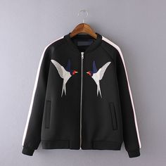 Women Collection Embroidery Birds Jacket Space Cotton Short Coat Fashion Bomber Jacket Outwear For Spring Autumn Winter Who like it ? Visit our store