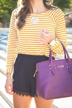 monogram purse, monogram satchel, preppy outfit, fall style, lace shorts, stripe tee // a southern drawl