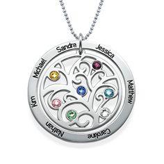 Family Tree Birthstone Necklace   MyNameNecklace
