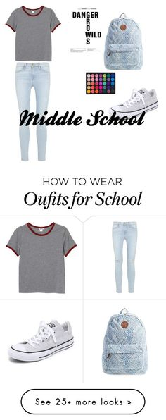 """""""middle school"""" by kidsink on Polyvore featuring Monki, Frame Denim, Billabong and Converse"""