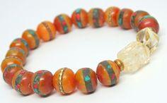 Golden amber  Tibetan Mala bead stretch bracelet, inlaid with coral, turquoise and brass, wrist mala, meditation bracelet,ethnic jewelry,