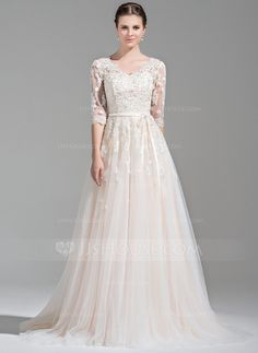 A-Line/Princess V-neck Court Train Beading Appliques Lace Sequins Bow(s) Zipper Up Covered Button Sleeves 1/2 Sleeves Church General Plus No Winter Spring Fall Other Colors Tulle Wedding Dress