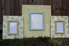 Marrakech Wood Distressed Picture Frame 8x10 Hand painted w/ 2 Polka dot 5x7s to MATCH via Etsy