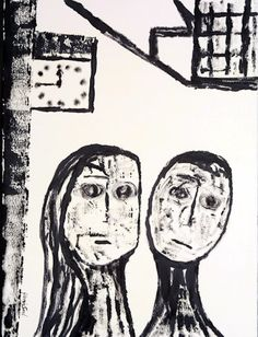 A quarter to midnight on the edge of delirium ink on shimmed paper,1981, cm 77x57