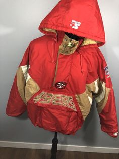 Men's xxl jacket. Has some staining on the white as well as the arms (shown in pictures) Bin bag 19 Rain Jacket, Overalls, Windbreaker, San Francisco, Pullover, Logos, Jackets, Vintage, Ebay