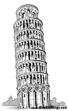 Great Buildings Drawing - Leaning Tower of Pisa Building Drawing, Building Sketch, Pisa, Rome, Stippling Art, Travel Wall Art, Line Artwork, Office Wall Art, Architecture Drawings