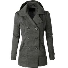 LE3NO Womens  Classic Wool Double Breasted Pea Coat Jacket ($33) ❤ liked on Polyvore featuring outerwear, coats, pea jacket, double breasted wool peacoat, double breasted woolen coat, peacoat coat and double-breasted coat #womenscardigan #womensouterwear #womensjacket #scarves #scarf #fashion