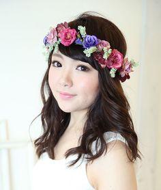 モーブピンクとパープルの小花の花冠