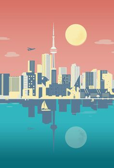 This mid-century futuristic illustration is by artist Cindy Rose Studio. Capturing the iconic CN tower from Lake Ontario. Skyline Painting, Skyline Art, Toronto City, Toronto Canada, City Illustration, City Landscape, History Photos, Canadian Artists, Vintage Travel Posters