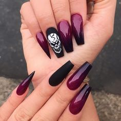 Pin by Lisa Firle on Nageldesign - Nail Art - Nagellack - Nail Polish - Nailart - Nails in 2020 Goth Nails, Skull Nails, Sexy Nails, Stiletto Nails, Trendy Nails, Goth Nail Art, Skull Nail Art, Ombre Nail Designs, Nail Art Designs