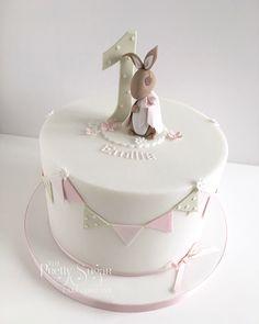 Beatrix Potter Flopsy Bunny first birthday cake First Birthday Cakes, Birthday Cake Girls, Baby Birthday, Birthday Ideas, Celebration Cakes, Birthday Celebration, Girl Cakes, Baby Cakes, Rabbit Cake