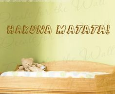 Lion King Hakuna Matata Disney - Girl's or Boy's Room Kids Baby Nursery - Quote Design Sticker Decoration, Art Mural Decor, Vinyl Saying, Large Wall Lettering Decal:Amazon:Home & Kitchen