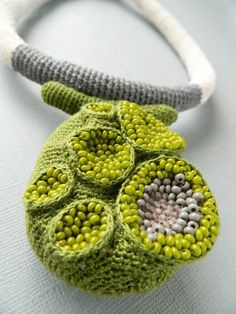 Crochet necklace ( cotton, fabric, glass beads). Lidia Puica 2013