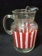 Vintage RED & WHITE CANDY STRIPE 2 Qt Iced Beverage Pitcher