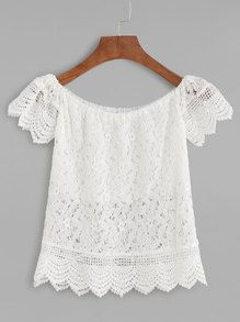 Shop Boat Neck Crochet Lace Scalloped Hollow Out Blouse online. SheIn offers Boat Neck Crochet Lace Scalloped Hollow Out Blouse & more to fit your fashionable needs. Boat Neck Tops, Top Boat, Plain Tops, Off Shoulder Tops, Mode Style, Crochet Lace, Crochet Blouse, Crochet Pattern, Casual Tops