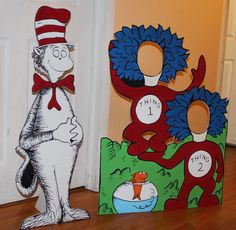 Dr Seuss Character Cutout . Cat in the Hat birthday . 1 Hand Painted Decoration . Photo prop . Thing 1 Thing 2 Standee . Photo op by LittleGoobers on Etsy https://www.etsy.com/listing/214100591/dr-seuss-character-cutout-cat-in-the-hat