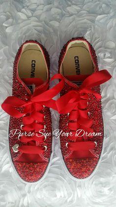 Swarovski Crystal Rhinestone Ruby Red Converse Shoes | Etsy Ribbon Shoes, Bling Shoes, Custom Design Shoes, Custom Shoes, Red Converse Shoes, Crystal Rhinestone, Swarovski Crystals, Pageant Shoes, Red Wedding Shoes