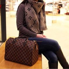 louis vuitton bag, scarf- Simple casual fall outfits for women