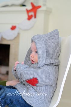He Wears His Heart on His Sleeve..... Knitted baby coat ..........GRANDMA!!!! : )