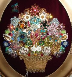 Vintage Rhinestone Floral Basket Wedding Collage Art  * Brooches, Pins, Earrings, Bits & Baubles * DIY Inspiration * Perfect framed wall art or memory piece to display jewelry of a loved one that has passed.