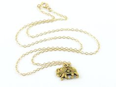Tiny Elephant  Necklace Gold Charm Necklace Gita by LeCharmerie, $21.50