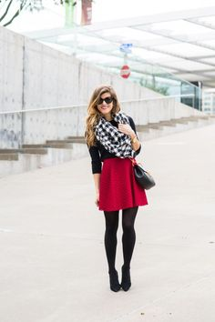 red skater skirt wit