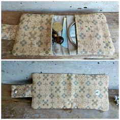 6ea1aa4297 Mini damask wallet. Little coin purse in recycled damask with flowers.  Unisex wallet in gold and military green